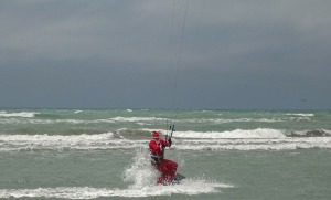 Chris Kimber doing Santa on Kite board