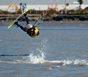 Kiteboarding on the estuary