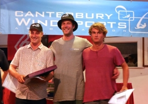 Gold Fleet Podium Winners, 2016 Windsurf Slalom Nationals. 1st Laurence Carey / 2nd Jack Holliday / 3rd Alex Hart.